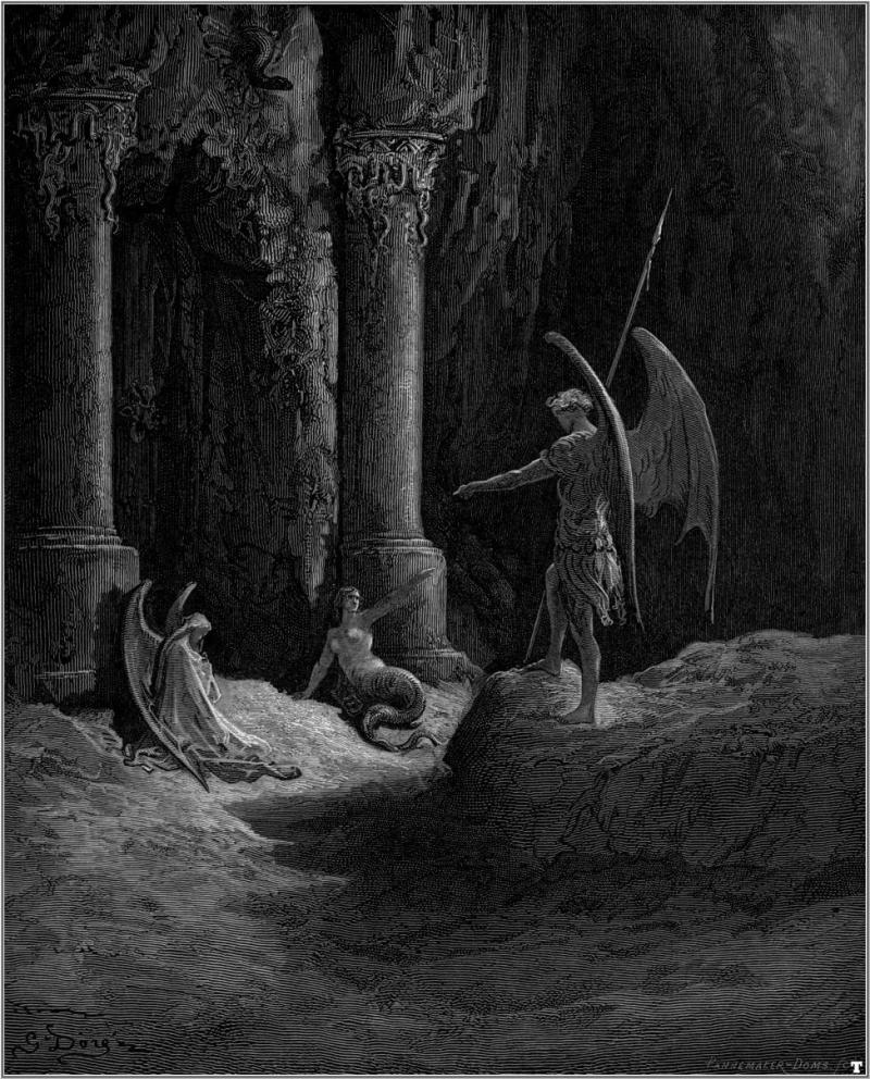 Gustave Dore Paradise Lost Satan talks to Sin and Death